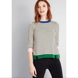 Modcloth Well Placed Pep Stripe Sweater Rainbow M